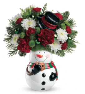 Snowman Cookie Jar Bouquet