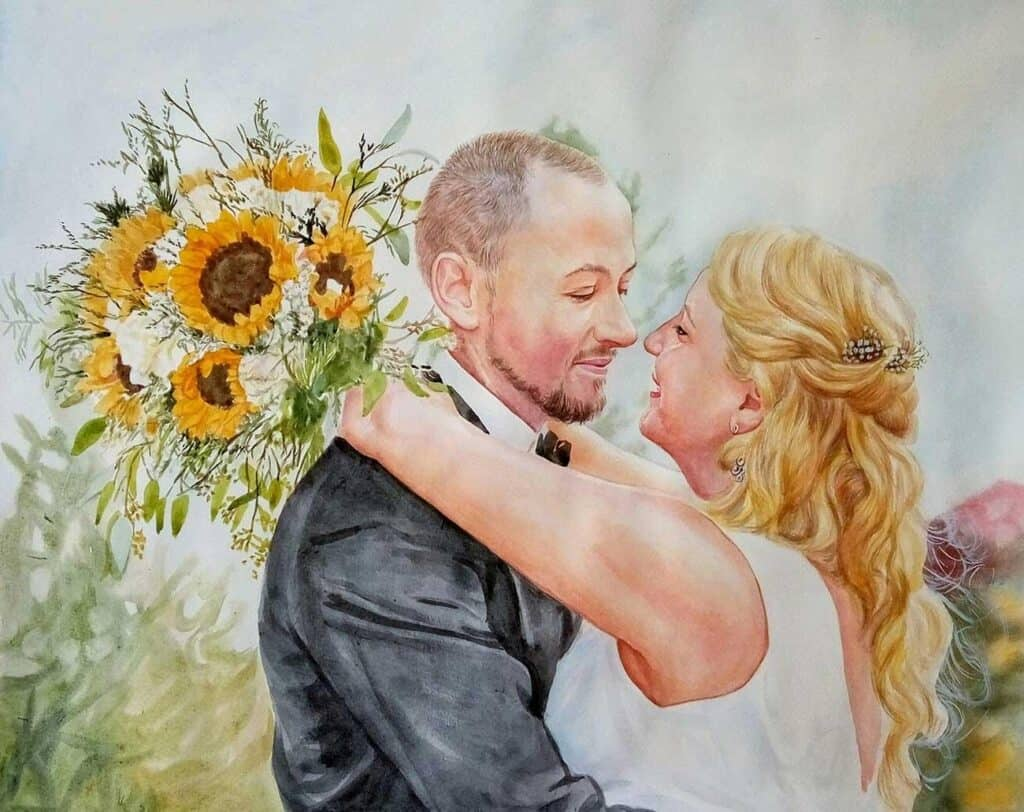 Wedding watercolor portrait  of a couple on their wedding day